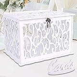 Aparty4u Boîte à cartes de mariage avec serrure, boîte cadeau en PVC pour réception, anniversaire, fête de naissance, fête prénatale, blanc