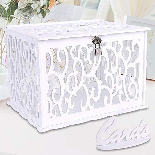 Aparty4u - scatola per biglietti di nozze, con serratura, in pvc, per ricevimenti, anniversari, lauree, feste di compleanno, baby shower, colore bianco