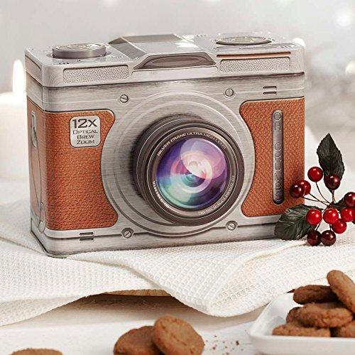 Scatola Contenitore In Latta Forma Macchina Fotografica Con Zoom 18,5x11x15 Cm Vari Colori Assortiti