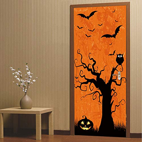 lzdyaya Tür Aufkleber 3D Wallpaper Halloween Kürbis Kind Happy Festival Decor PVC Selbstklebende wasserdichte Wandtattoo 90X200 cm (Kürbis Halloween Wallpaper)