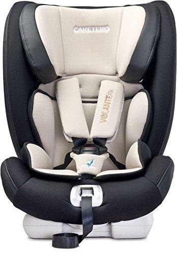 Caretero VolanteFix Kindersitz mit ISOFIX 48x45x59 cm (LxBxH) komfortabler Autositz, Kinderautositz höhenverstellbare Kopfstütze 4-fach verstellbare Rückenlehne 5-Punkt-Sicherheitsgurt (Beige)