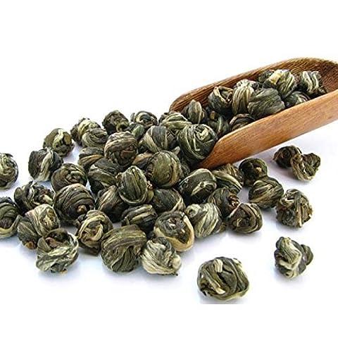 Tealyra - Imperial Jasmine Dragon Pearls - Thé vert Jasmine - Perles de dragon - Loose Leaf Green Tea - Organically Produced - Pleasant Aroma and Tonic Effect - 100g