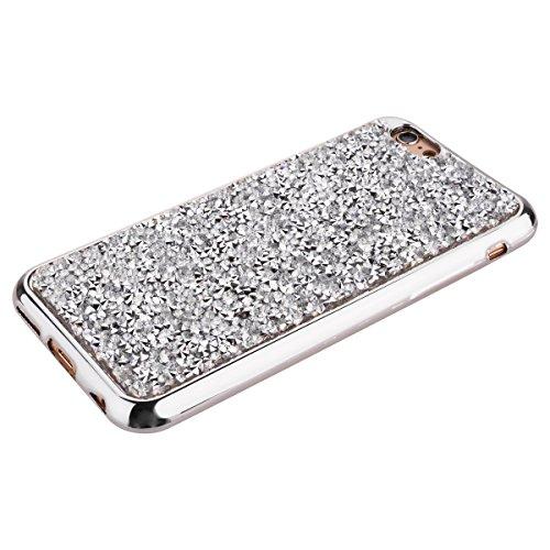 iphone 6/ 6s 4.7 Zoll hülle, SMART LEGEND 3D Strass Muster TPU Silikon Weich Silikon Schutzhülle Zurück Kreative Glitzer Glitter Shiny Glanz Sparkle Gloden Back Case Blume Rhinestone Diamant Schutzhül Silber