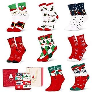 Calcetines de Navidad, 8 Pares Calcetines de Algodón de Navidad de invierno Calcetines Térmicos de Navidad Calcetines Navidad Mujer Regalo Calcetines con Exquisita Caja de Regalo y Bolsa de Regalo