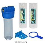 Filtergehäuse SET für die Trinkwasser und Nutzwasseraufbereitung in 10 Zoll mit 1/2' Gewinde inkl. 2x Wickel Sedimentfilter, Wandhalterung und Filterschlüssel für die Montage des Wasserfilters
