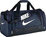 Questo sacchetto di sport Nike è un sacchetto dimensione Medio. Il sacchetto ha un grande compartimento e due piccole tasche laterali, tutti con zip. Una delle tasche laterali è appropriato per trasportare i vestiti bagnati o scarpe sporche. ...