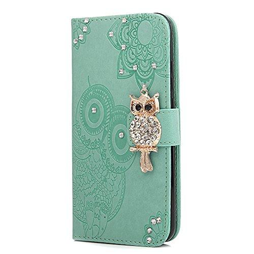Tophung Coque pour téléphone portable Huawei P20 Lite - Cuir synthétique et strass transparent, rabat avec fentes pour cartes, motifs de fleurs et papillons en relief, languettes de fermeture Green