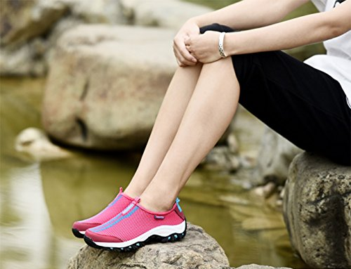 Mesh Oberfläche Abriebfeste Rutschfeste Sohle Aquaschuhe Schnell Trocknend Wandern Outdoor Freizeitschuhe Sneakers Unisex Damen Herren Rot