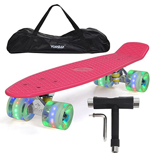 yorbayr-22-retro-skateboard-mini-cruiser-board-komplett-fertig-montiert-deck-pink-led-transparent-ra