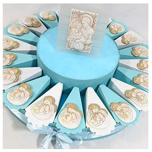 Sindy bomboniere 8054382130 bomboniere battesimo bimbo sacra famiglia calamita e centrale firmato pignatelli, resina, azzurro, 30 x 30 x 5 cm