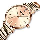 CIVO Damen Uhren Ultra Dünn Silm Minimalistisch Damenuhr Wasserdicht Kleid Armbanduhren Luxus Beiläufig Edelstahl Mesh Quarzuhr für Frau Lady Teenager Mädchen (Gold/Rose Gold-2)