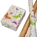 Geschenkpapier Set 3 Rollen, Motiv Flora Glitter Geschenkpapier mit Schmetterlingen + Motiv Loomy Lack Geschenkpapier in kupfer auf naturbraunem, matten Fond + Motiv Maison Vintage-Design mit Vögeln.
