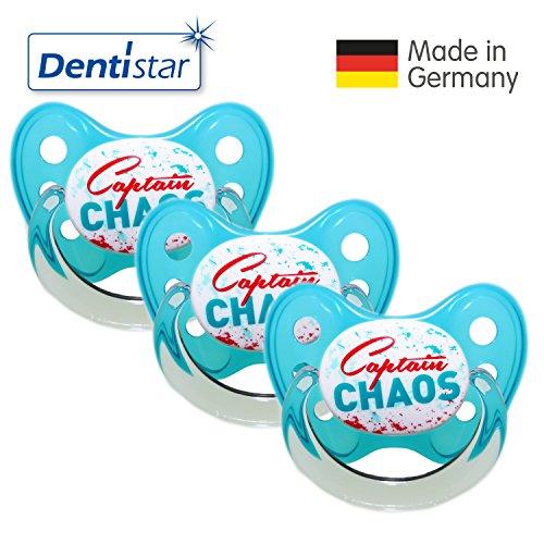 Dentistar® Schnuller 3er Set- Nuckel Silikon in Größe 2, 6-14 Monate - zahnfreundlich & kiefergerecht - Beruhigungssauger für Babys - Türkis Captain Chaos
