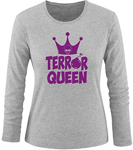 EZYshirt® Terror Queen Damen Longsleeve Grau/Violett