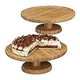 2x Tortenplatte rund im Set, 33 cm Durchmesser, Kuchenplatte aus Bambus, mit Standfuß, natur