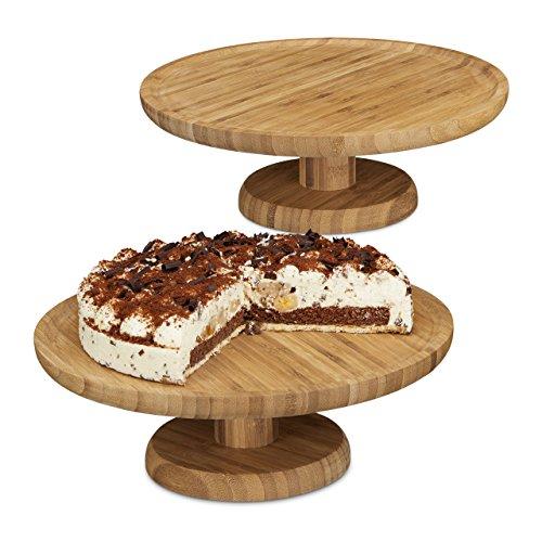 Trocknen Wurst (2x Tortenplatte rund im Set, 33 cm Durchmesser, Kuchenplatte aus Bambus, mit Standfuß, natur)