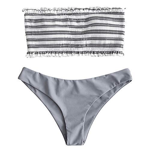 ZAFUL Damen Sommer Gestreiftes Gerafftes Bandeau Bikini-Set mit Rüschen Sexy Bademode Badeanzug (Graue Wolke M) -