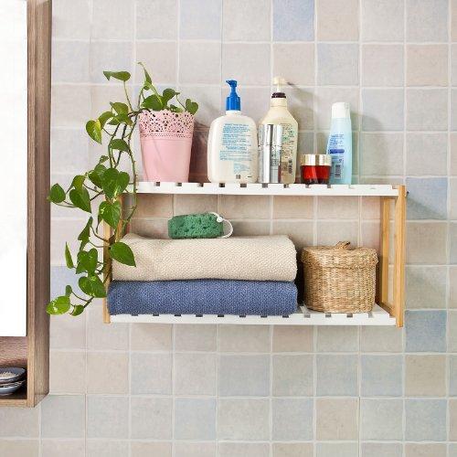 SoBuy® Estantería de pared, estantería de baño, librería, estantería de cocina de bambú, FRG27-WN, colore: natural/blanco