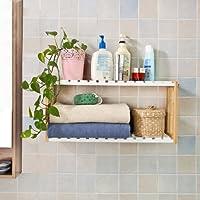 SoBuy® FRG27-WN,Estantería de pared, estantería de baño, librería, estantería de cocina de bambú, Color natural/blanco