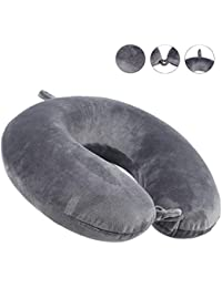 Travel Pillow - Luxury Memory Foam Neck Support Cushion Neck Support Pillow (Gray)