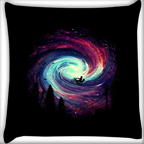 Snoogg Cycling On The Galaxy 12 x 12 Inch Throw Pillow Case Sham Pattern Zipper Pillowslip Pillowcase For Drawing Room sofa Couch Chair Back Seat  available at amazon for Rs.145