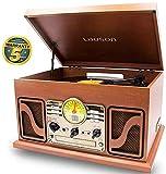 Lauson Giradischi Vintage | Bluetooth | Usb | Altoparlante Stereo Incorporato | Lettore Vinile CD Desing Retro | Giradischi con Radio FM | CL606 (Legno)