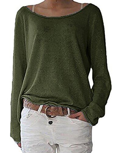ZANZEA Damen Langarm Lose Bluse Hemd Shirt Oversize Sweatshirt Oberteil Tops Army Grün EU 40-42/Etikettgröße M