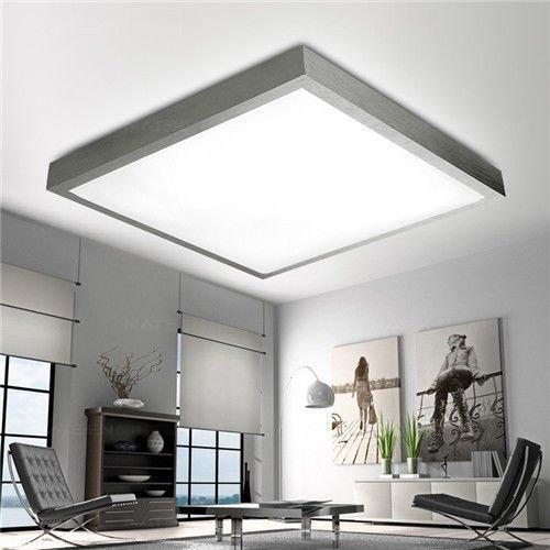 24W Deckenleuchte LED Deckenlampe Wandlampe Küchenlampe Beleuchtung für Wohnzimmer Schlafzimmer Kinderzimmer Büro, Silber Alurahmen, Warmweiß, (480x75mm)