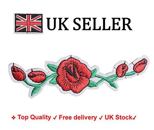 Floral Rose Aufbügeln/Aufnähen Auf bestickt Patch-Stickerei Motiv Transfer (Schuhe Floral Stoff)