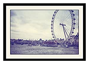 ArtStory Wooden Giant Wheel River and Boats Framed Wall Painting (30 cm x 20 cm x 2.5 cm)
