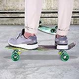 Enkeeo 57cm Mini Cruiser board Skateboard mit stabilen Deck 4 PU-Rollen für Kinder, Jugendliche und Erwachsene (Sky) -