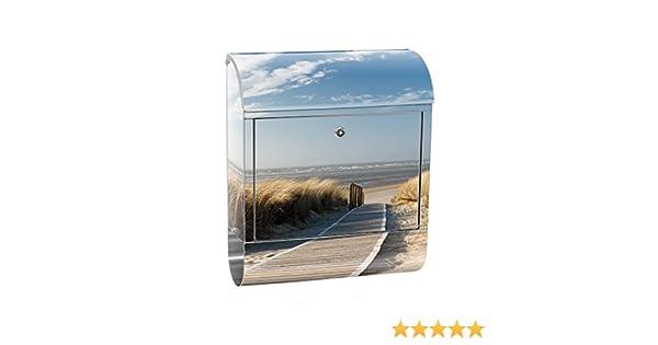0038 liwwing Briefkasten Edelstahl mit Motiv und Zeitungsfach no Strand Meer Nordsee Wasser Himmel Sonne Sommer Zeitungsrolle als XXL Design Wandbriefkasten