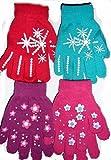 4 Pairs Girls Winter Gripper magic Gloves