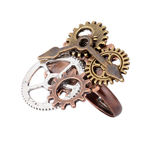 NYAOLE Unisex Vintage Punk Gothic Ring Steampunk Gear Muster Ring Schmuck Fingerring Damen Herren