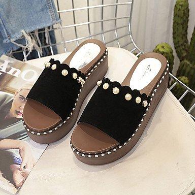 zhENfu donna pantofole & amp; flip-flops Comfort estivo PU Outdoor tacco piatto a piedi Black