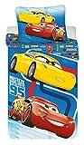 Disney Parure de Lit Cars Blue Housse de Couette réversible lit 1 Personne - Coton