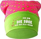 Baby KOPFTUCH Mütze (Farbe pink-lime) (Gr. 2 (68-98) Ich bin die Suesse von der alle reden