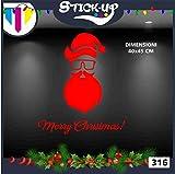 Vetrofanie Natale Adesivi Natale - Babbo Natale Hipster Stile 3 - Vetrofanie per Natale, vetrine negozi, stickers (Rosso)