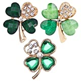 Amosfun 3pcs Four Leaf Clover Brooch Pins Rhinestone Green Shamrock Badge Wedding Banquet Jewelry St Patricks Day Accessories for Friends