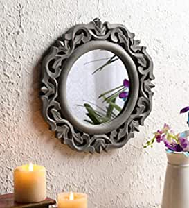"The Urban Store Wood Hand Crafted Wall Mirror for Living Room, 14""X14"" (Grey)"