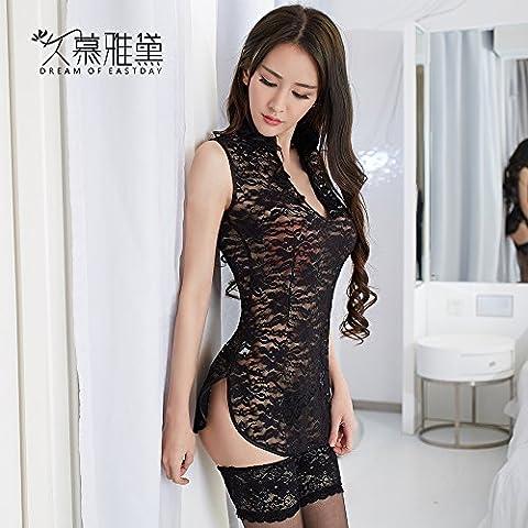 BTBT*punta qipao albornoz transparente más uniforme sexy Schlafanzug Unterwäsche frases tan interesante de la tentación de ''L, negro sin