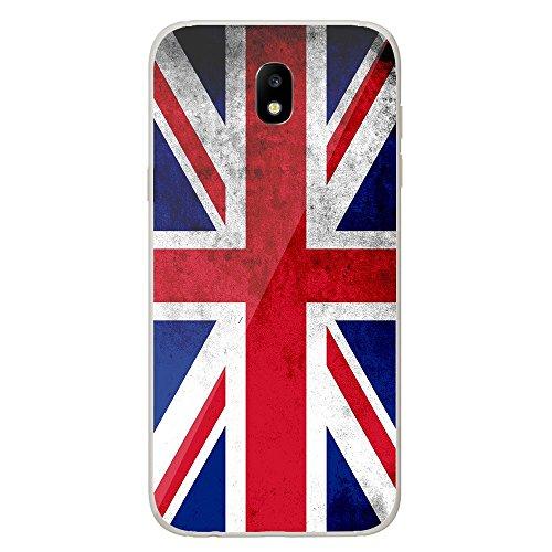 Housse Coque Etui Samsung Galaxy J7 2017 silicone gel Protection arrière - Drapeau Angleterre