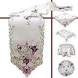 Quinnyshop Lila Schmetterlinge und Blumen Stickerei Tischdeckchen 30 cm Rund Polyester, Weiß