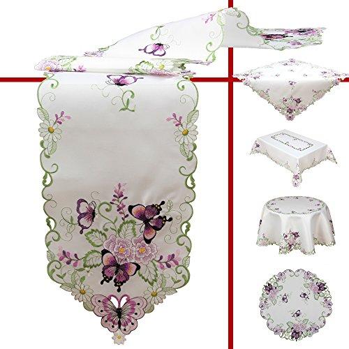 Quinnyshop Lila Schmetterlinge und Blumen Stickerei Tischläufer 45 x 110 cm Oval Polyester, Weiß (Blumen Tischläufer)