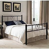 Aingoo Single Bett Metallbett Ehebett Metall Bettgestell mit Lattenrost für Gästezimmer Schlafzimmer Bett In Schwarz Herz Symbol Muster 90 * 190CM / 35.43 * 74.8Inches