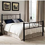 EGGREE Single Bed Solid 3Ft Metal Beds Frame Heart-Shaped with Large Storage Space For Children or Adults , Black
