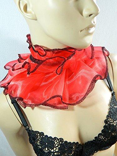 Kragen rot Scarfette Halskorsett Mühlsteinkragen Halskrause (Korsett Maid Kostüm)