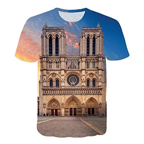 b95771430ebb Romantic Hommes Notre- Dame de Paris 3D Pattern imprimé T-Shirts Chemise à  Manches