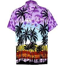 *La Leela********* Bouton cerf Plage Chemise hawaïenne Hommes Répartis Le Long des Manches de Poche Avant du col Court Aloha Facile à Laver Likre