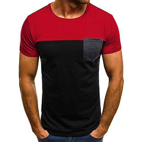 Dasongff Herren Kurzarm Muskel T-Shirt Slim Casual Fit Sweatshirt Pullover Patchwork Tasche Freizeitshirt Bluse Top (XL, Rot) (Muskel-jack)